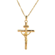 24K Gold Plated Jesus Christ On the Cross Crucifix Pendant Necklace Jewellery