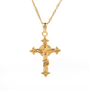 Gold Plated Jesus Christ Celtic Cross Crucifix Pendant Necklace Jewellery