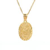"24K Gold Islamic Arabic script ""Allah"" Oval Pendant Necklace"
