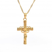 Gold Plated Cross Jesus Christ Crucifix Cross Pendant Chain Necklace