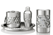 Francois et Mimi Stainless Steel Bar Tools Set, Including Ice Bucket, Wine Chiller, Cocktail Shaker and Serving Tray