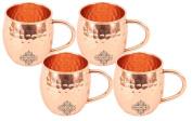 IndianArtVilla Set of 4 Pure Copper Hammered Mug Moscow Mule 530ml each - Beer Cocktail Wine Drinkware Bar Hotel Restaurant Tableware