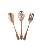 Knork 3 Piece 22cm 112 g Slotted Serving Spoon 22cm 101 g Meat Knork 22cm 93 Serving Set, Copper