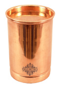 IndianArtVilla 10cm X 7.1cm Pure Copper Plain Glass Tumbler Goblet Cup with Lid | 300 ML Capacity | Serving Drinking Water | Home Hotel Restaurant Kitchen & Dining