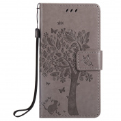 JAWSEU Leather Case for Samsung Galaxy J5 Prime Butterfly, Flip Case for Samsung Galaxy J5 Prime Cat, Wallet Cover for Samsung Galaxy J5 Prime With Strap, Embossing Tree Butterfly Style Cute Elegant Retro Slim Leather Protective Case Magnetic Stand Fun ..