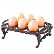 Decorative Cast Iron Vintage Style 6 Egg Display Tray Holder with Ornate Handles