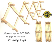 2 ALAZCO Accordion Style Wood Expandable Wall Racks - Each Has 13 Hooks (Pegs) For Hat, Cap, Belt, Umbrella Coffee Mug Jewellery Hanging - 5.1cm Long wooden Pegs