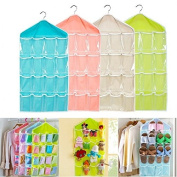 Caxmtu 1Pc Storage Bag Closet Organiser 16 Pockets for Socks Shoe Toy Underwear Sorting Door Wall Hanging Clear