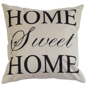 Onker Cotton Linen Square Decorative Throw Pillow Case Cushion Cover 46cm x 46cm Home Sweet Home Love in Simple Words