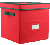Zober Premium 600D Polyester Christmas Ornament Storage Box with Lid - Adjustable Ornament Storage Container with Dividers - Holds up To 64 Round Ornaments - 12 x 12 x 12 - Red