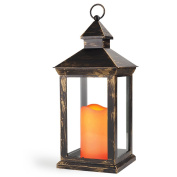 BRIGHT ZEAL 36cm TALL Vintage Decorative Lantern with LED Flickering Flameless Candles (Distressed Bronze, 8HR Timer, Battery Included) - Candle Lanterns Indoor Hanging Lights Outdoor Lanterns 1182Y