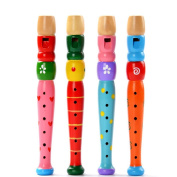 Elaco Colourful Wooden Trumpet Buglet Hooter Bugle Educational Toy Gift For Kids
