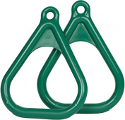 Swing Set Stuff Plastic Trapeze Rings (Green) with SSS Logo Sticker