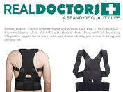 Neoprene Lower Back Brace Posture Corrector Clavicle Support For Scoliosis Spondylolisthesis & Thoracic. Posture Support For Men & Women. Relieves Back Pain & Acts As A Shoulder Back Brace. S/M