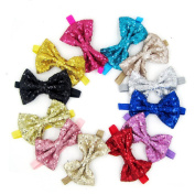 Big Sequins Bow Headbands for Girl Hair Accessories Fashion Bow Headwrap Baby Top Knot Headband
