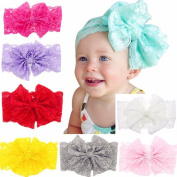 CellElection 8pcs/lot Baby Girls Lace Headband Bow Hair Clips for Girls Baby Hair Accessories Children's Hair Ties