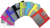 PHT Silicone Blanked Label Retro 8.9cm Floppy Disc All-weather Coasters , 12cm X 9.1cm , Set of 8