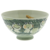 2 Pc Japanese Green Chorus of Frogs Rice Bowl Set Includes 2 Bowls