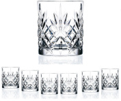 Set Of 6 High Quality Double Old Fashioned Crystal Glassware Set, Perfect for serving scotch, whiskey or mixed drinks