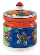 Hand-Painted Paisley Ceramic Sugar Bowl - 8.3cm Dx 4.60cm H, 300ml - Paisley