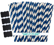 Outside the Box Papers Striped Paper Straws 20cm 100 Pack Navy Blue, White
