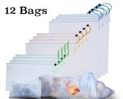SiKOSS (12 Total Bag) Reusable Produce Mesh Bags For Store Food, Fruit / Vegetable. BPA Free. Buy Your Washable Mesh Bags Set With Clamps TODAY