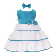 Baby Girls Turquoise Bow Sash Easter Special Occasion Dress 3-24M