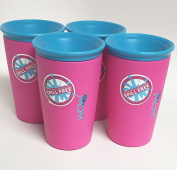 Wow Cup for Kids - NEW Innovative 360 Spill Free Drinking Cup - BPA Free - 270ml (Pink), 4 Pack