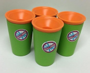 Wow Cup for Kids - NEW Innovative 360 Spill Free Drinking Cup - BPA Free - 270ml (Green), 4 Pack
