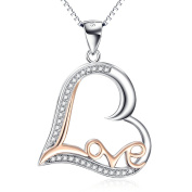 """YFN Sterling Silver Gold Tone """"Love"""" Heart Pendant Necklace for Women, 46cm"""