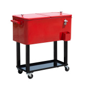 Outsunny 75.7l Rolling Ice Chest Portable Patio Party Drink Cooler Cart - Red