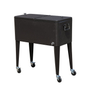 Outsunny 75.7l Rolling Ice Chest Portable Patio Party Drink Cooler Cart - Dark Brown