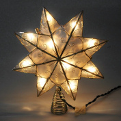 Capiz Star Gold Metal Christmas Tree Topper, Warm White 23cm