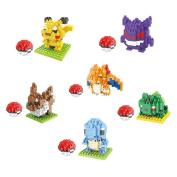 6 Boxes Diamond Block Pokemon Miniature Building Blocks Parent-child Games Children's Educational Toys Pikachu Squirtle Bulbasaur Charizard Ect