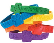 Paw Print Rubber Bracelets - Pack of 24