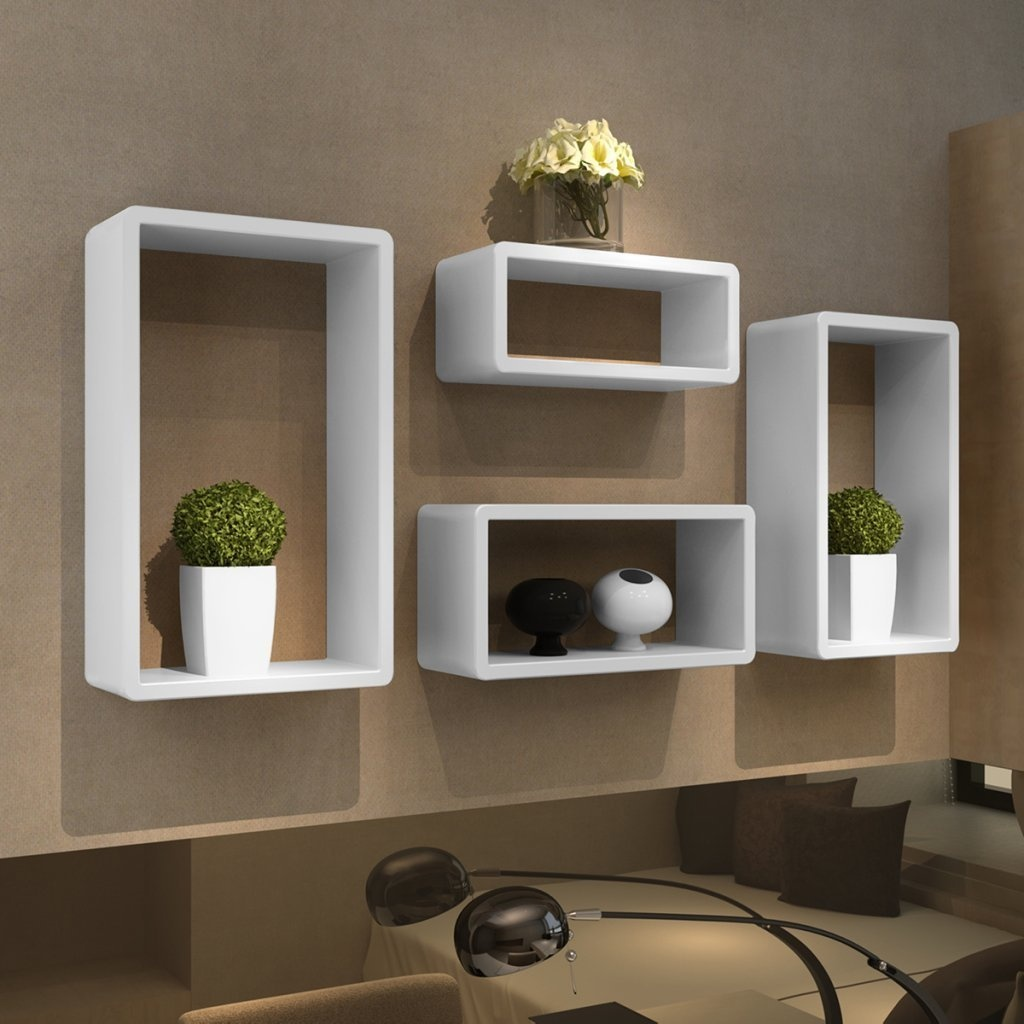 Groovy Anself Wall Cube Floating Shelves Cuboid Shelf Set Of 4 White Download Free Architecture Designs Aeocymadebymaigaardcom