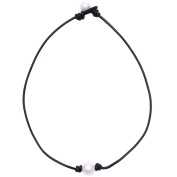 Aobei Pearl Single Cultured Freshwater Pearl Necklace Choker for Women Genuine Leather Jewellery Handmade