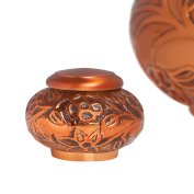 Funeral Urn - Keepsake Cremation Urn for Human Ashes - Hand Made in Brass and Hand Engraved - Burial Urn (Copper Vines). -- Fits small amount of cremated remains