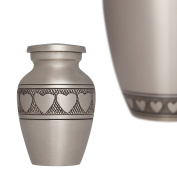 Funeral Urn by Liliane - Keepsake Cremation Urn for Human Ashes - Hand Made in Brass and Hand Engraved - Fits a Small Amount of Cremated Remains - Display Burial Urn at Home or in Niche at Columbarium - Corazones Model