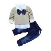 Puseky Toddler Baby Boy Bow Tie Shirt Tops+Denim Pants Gentleman Clothes Outfits