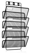 4-Pocket Hanging Wall File Organiser, Folder Holder + Mounting Hardware + Labels