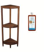 The Original Kai Corner Teak Bath Shelf & AquaTeak Premium Teak Oil