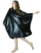 WM Beauty Professional Water Repellent Adjustable Hair Salon Cape with Snaps Clousure, Black