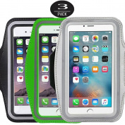[3 Pack]Running Armband,CaseHQ Sports Water Resistant with Key Holder Pouch Fit iPhone 7 6 6s Plus(14cm ) Samsung Galaxy S7 S6/S5, Note 4/3 ,Bundle with Screen Protector