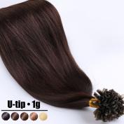 100% Real Remy Human Hair U Tip Nail Pre Bonded Hair Extensions 1g/Strand Straight 50cm 02# Dark Brown