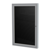Ghent 90cm x 80cm 1-Door Satin Aluminium Frame Enclosed Flannel Letterboard - Black - Made in the USA