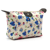 Women Fashion Flower Print Cosmetic Bags Durable Nylon Zipper Make Up Pouch