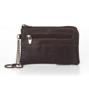 Mini Coin Purse Brown Leather Zip Bags For Men or Women Small Leather Purse Card Wallet