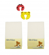 DK Glovesheets Two WHITE Fitted 83 x 50cm Crib Sheets 100% Combed Jersey Cotton - Compatible With The Next To Me Mattress - 2 PACKS Plus 2 Pack Of Safety Doorstopper