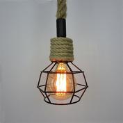 Industrial Retro Country Hemp Rope Ceiling Chandelier Pendant Edison Lamp Light